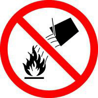 Do Not Extinguish With Water (ISO Prohibition Symbol)