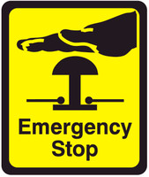 Emergency Stop (Black Lettering/Yellow Background)