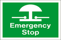 Emergency Stop (White Lettering/ Green Background)