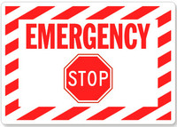 Emergency Stop With Stop Sign (Red Lettering/ White Background)