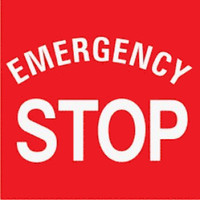 Emergency Stop Label (White Lettering/ Red Background)