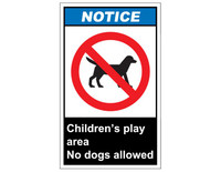 ANSI Notice Children's Play Area No Dogs Allowed