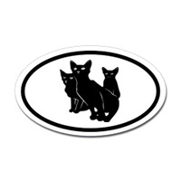 Cats Oval Bumper Sticker