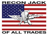 USMC Recon Jack On US Flag Sticker (With Recon Jack Of All Trades Text)