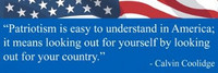 Patriotism In America -  Bumper Sticker