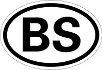 Country Registration Oval Bumper Sticker - Bahamas