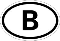 Country Registration Oval Bumper Sticker - Belgium
