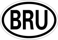 Country Registration Oval Bumper Sticker - Brunei