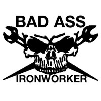 Bad Ass Ironworker Skull Decal