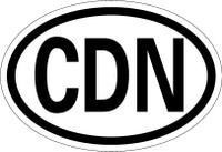 Country Registration Oval Bumper Sticker - Canada