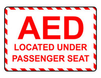 AED Located Under Passenger Seat (Red and White)