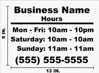 Business Name and Hours Decal