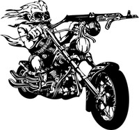 Gun Toting Bad Ass Motorcycle Decal