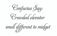 Confucius Say: Crowded Elevator... (Wall Art Decal)