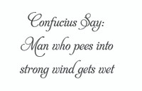 Confucius Say: Man Who Pees... (Wall Art Decal)