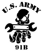 US Army 91B Skull With Tool Decal