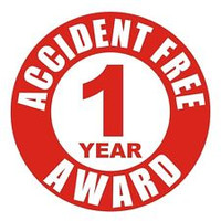 Accident Free 1 Year Award Hardhat Sticker