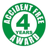 Accident Free 4 Years Award Hardhat Sticker