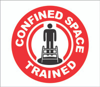 confined space trained hardhat sticker