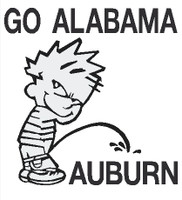 Calvin Go Alabama pissing on Auburn decal