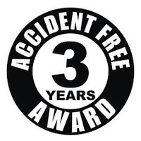 Accident Free 3 Years Award Hardhat Sticker