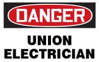 Danger Union Electrician Hardhat Sticker