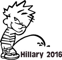Pissing Calvin on Hillary Clinton 2016