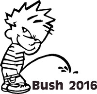 Pissing Calvin on Jeb Bush 2016