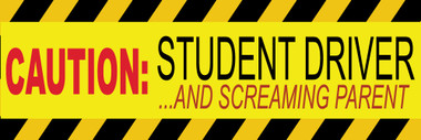 Caution Student Driver and Screaming Parent Bumper Sticker