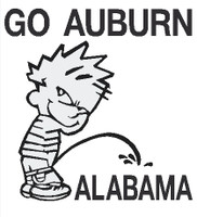 Calvin Go Auburn pissing on Alabama decal