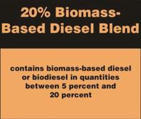 20% BIOMASS BASED DIESEL BLEND STICKER