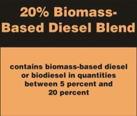 20% BIOMASS BASED DIESEL BLEND STICKER