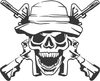 Army Ranger Skull With Guns Decal