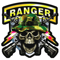 Army Ranger Skull With Guns Sticker