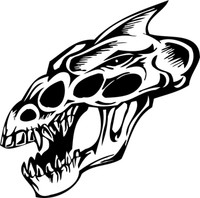 Crazy Raptor Skull Decal