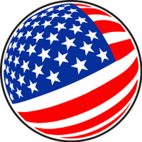 Globe with American Flag Sticker