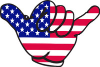 Hand Peace Sign, American Flag Vinyl Sticker