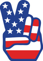 Hand Peace Sign American Flag Sticker