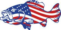 Bass Fish, American Flag Sticker