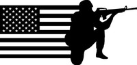 American Flag with Soldier #1 Decal