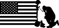 American Flag with Soldier #3 Decal