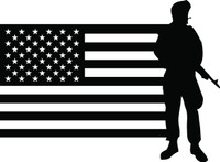 American Flag with Soldier #5 Decal