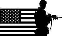 American Flag with Soldier #7 Decal