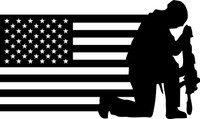 American Flag with Soldier #9 Decal
