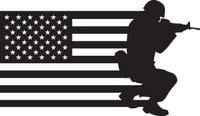 American Flag with Soldier #16 Decal