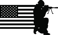 American Flag with Soldier #23 Decal