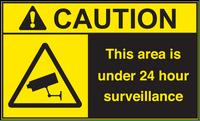 ANSI Caution This Area Is Under 24 Hour Surveillance Vinyl Sign #1