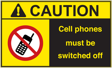 ANSI Caution Cell Phones Must Be Switched Off Vinyl Sign