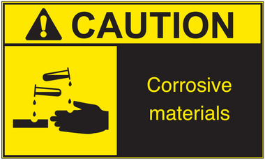 ANSI Caution Corrosive Material Vinyl Sign