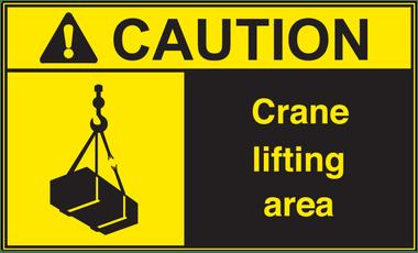 ANSI Caution Crane Lifting Area Vinyl Sign